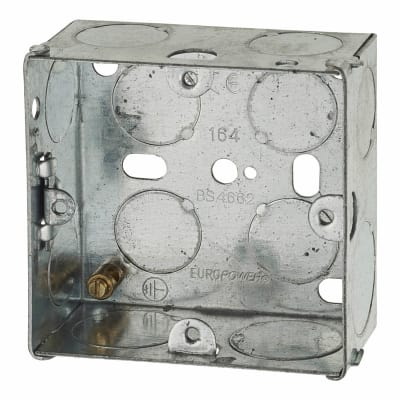 1 Gang Back Box with Knockout - 35mm - Galvanised