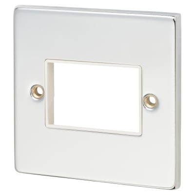 Click Scolmore MiniGrid 1 Gang 3 Aperture Switch Plate - Polished Chrome with White Inserts
