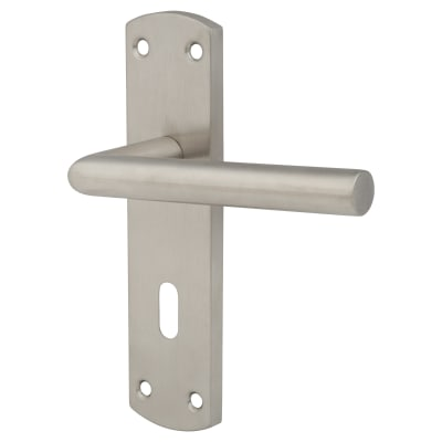 Altro Mitred Door Lock Handle - Satin Stainless Steel