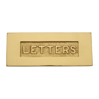 Altro Embossed Letter Plate - 254 x 101mm - Polished Brass