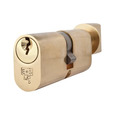 Eurospec 5 Pin 70mm Oval Thumbturn Cylinder - 35mm [Turn] + 35mm - Polished Brass - Master Keyed