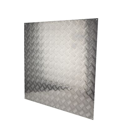 Kick Plate - Half Door Panel - 900 x 900mm - Checkerplate 5 Bar Tread - Aluminium