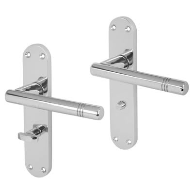 Touchpoint Bologna Bathroom Door Handle - Polished Chrome