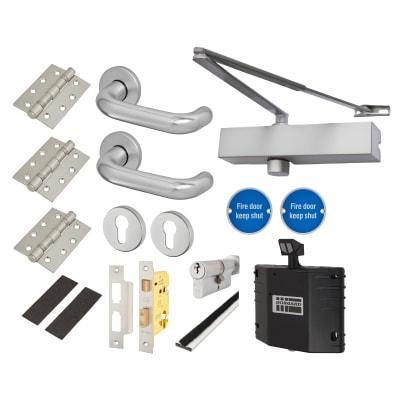 Medium Duty Lever Door Handle on Rose Fire Door Kit Hold Open Device - Euro Sashlock - Aluminium