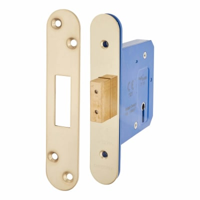 Hampstead Architectural 3 Lever Deadlock - 78mm Case - 57mm Backset - Radius - PVD Brass