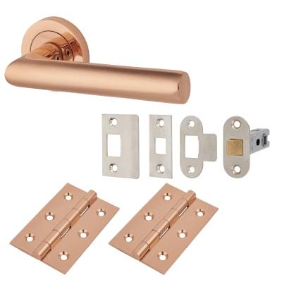 Hampstead Emily Lever Door Handle on Rose - Door Kit - Polished Copper