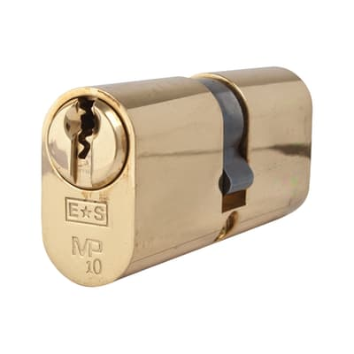 Eurospec Oval Double Cylinder - 10 Pin - 35 + 35mm - Polished Brass - Keyed Alike