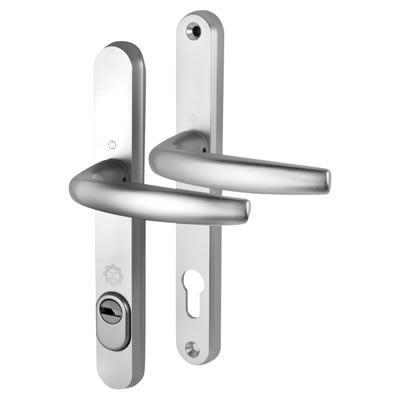 Hoppe PAS24 uPVC Multipoint Door Handle - 92mm c/c - 60mm door thickness - 242 x 35mm - Silver