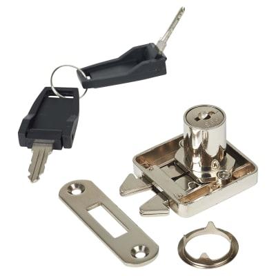 Cabinet Sliding Door Lock - 18 x 22mm - Nickel Plated - Keyed Alike Differ 3