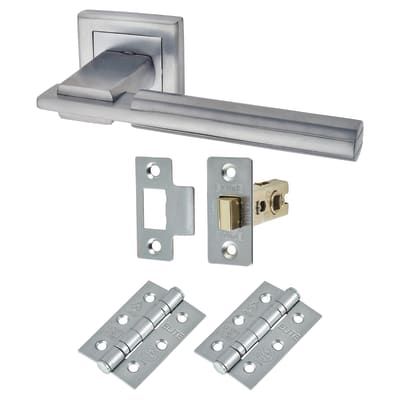 Morello Alpha Lever Door Handles on Rose - Door Kit - Satin Chrome