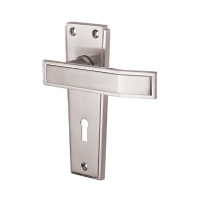 Jedo Deco Door Handle - Keyhole Lock Set - Satin Chrome
