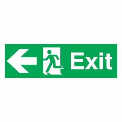 Exit Left - 150 x 450mm - Rigid Plastic