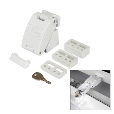 Jackloc Folding Key - Lockable Window Restrictor - White