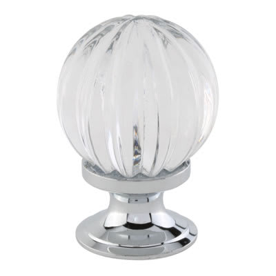 Aglio Floral Glass Cabinet Knob - 30mm - Polished Chrome