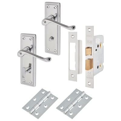 Touchpoint Budget Rope Edge Door Handle Kit - Bathroom Set - Polished Chrome