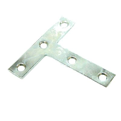 Tee Plate - 100mm - Bright Zinc Plated - Pack 10
