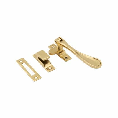 Hampstead Victorian Hook & Plate Window Fastener - Polished Brass