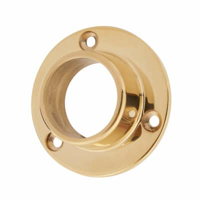 Heavy Solid Brass Round Tube End Socket - 19mm - Polished Brass Plated