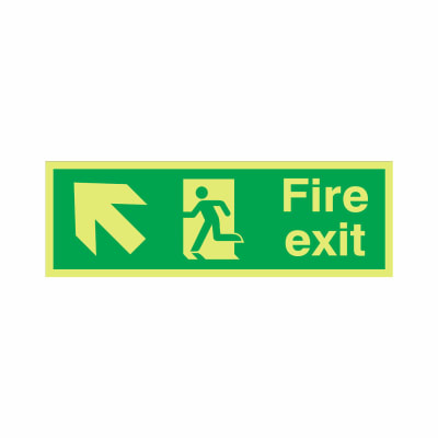 NITE-GLO Fire Exit Running Man - Arrow Up Left - 150 x 450mm