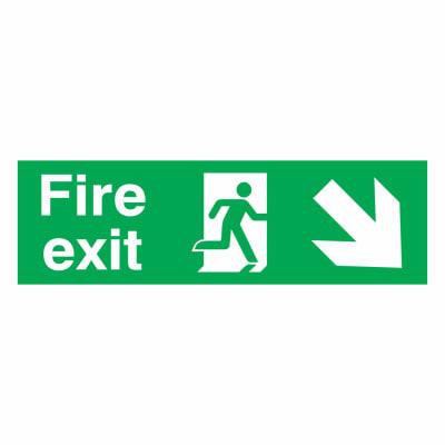 Fire Exit Down Right - 150 x 450mm - Rigid Plastic