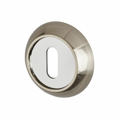 Hampstead Escutcheon - Keyhole - Satin Nickel/Polished Chrome