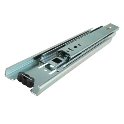 Klug 45.5mm Ball Bearing Drawer Runner - Double Extension - 400mm - Bright Zinc Plated
