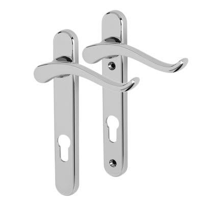 Fab & Fix Windsor uPVC Scroll Multipoint Lever/Lever Door Handle - 92mm c/c - RH - Bright Chrome