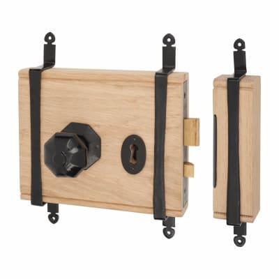 Elan Oak Box Door Lock - Antique Black Iron Knob