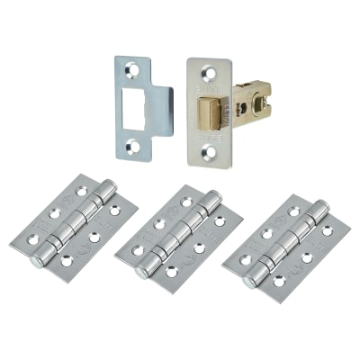 Altro Latch Pack - 44mm Backset - 3 x Fire Rated Ball Bearing Hinges - Polished Chrome