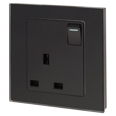 Retrotouch 13A 1 Gang DP Socket - Black Plain Glass