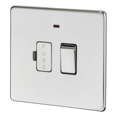 BG 13A Screwless Flatplate Switched Fuse Connection Unit with Neon - Polished Chrome