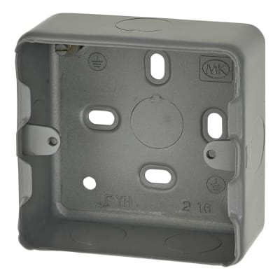 MK 1-2 Gang Grid Switch Surface Back Box - 41mm - Grey