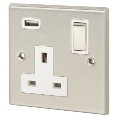 Contactum 13A 1 Gang DP Switched Socket with 5V USB - Brushed Steel with White Inserts