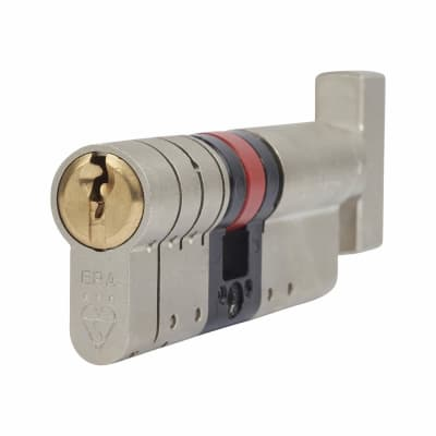 ERA 3 Star Fortress Euro Thumbturn Cylinder - 75mm Length - 40mm [Turn] + 35mm - Nickel and Brass