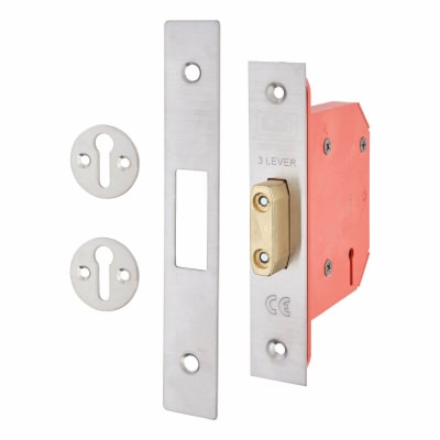 UNION 2103S StrongBOLT 3 Lever Deadlock - 68mm Case - 45mm Backset - Satin Stainless