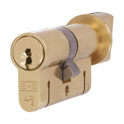 Eurospec 15 Pin 64mm Euro Thumbturn Cylinder - 32mm [Turn] + 32mm - Polished Brass - Keyed Alike
