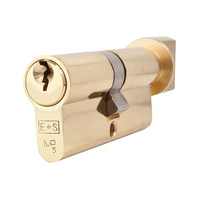 Eurospec 5 Pin 60mm Euro Thumbturn Cylinder - 30mm [Turn] + 30mm - Polished Brass - Master Keyed