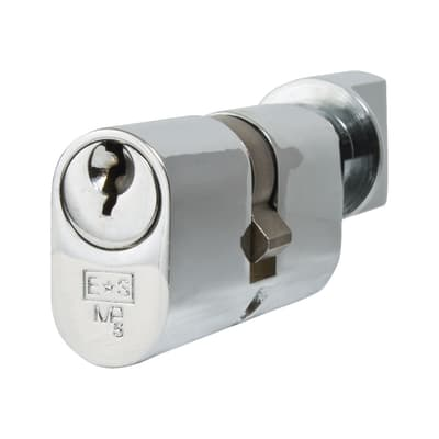 Eurospec 5 Pin 60mm Oval Thumbturn Cylinder - 30mm [Turn] + 30mm - Polished Chrome - Master Keyed