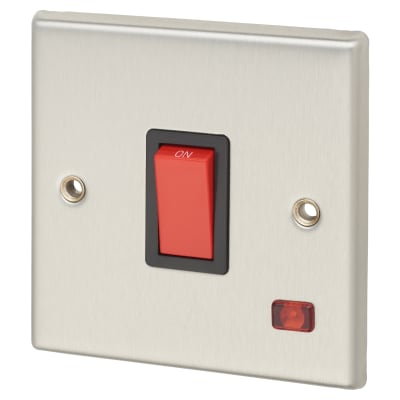 Contactum 32A 1 Gang DP Switch - Brushed Steel with Red Rocker and Neon