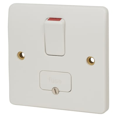 MK Logic Plus 13A 1 Gang Double Pole Switched Fused Spur - White