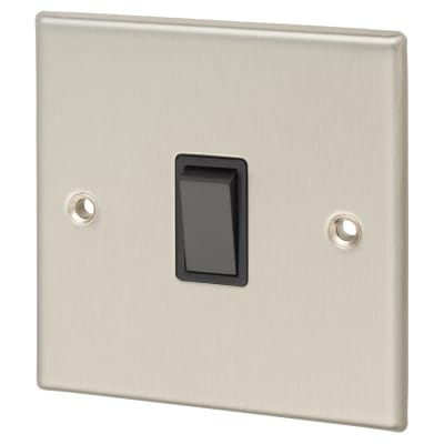 Contactum 10A 1 Gang 2 Way Light Switch - Brushed Steel with Black Insert