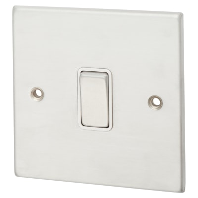 Hamilton Hartland 10A 1 Gang 2 Way Switch - Satin Chrome with White Inserts