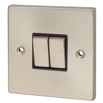 Click Scolmore 10A Ingot 2 Gang 2 Way Switch - Satin Chrome with Black Inserts