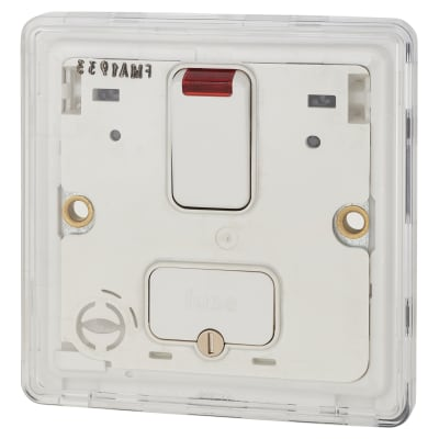 MK Dimensions 13A Double Pole Switched Fused Spur Module with Neon and Flex Outlet - White
