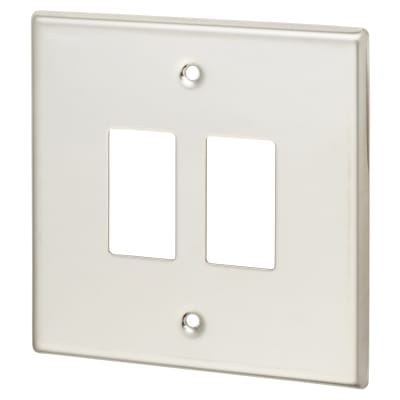 Contactum 2 Gang Cover Plate - Polished Steel