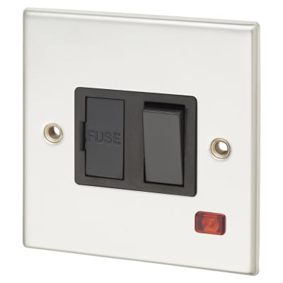Contactum 13A 1 Gang Double Pole Switched Connection Unit - Polished Steel with Black Insert
