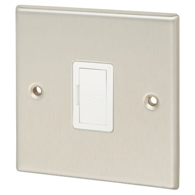 Contactum 13A 1 Gang Unswitched Connection Unit - Brushed Steel with White Insert