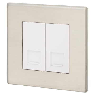 Hamilton Hartland G2 2 Gang RJ45 CAT 6 Outlet - Satin Steel With White Inserts