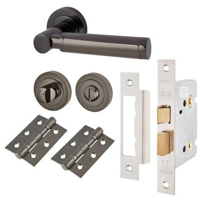 Touchpoint Juliet Lever Door Handle on Rose - Bathroom Lock - Door Kit - Black Nickel