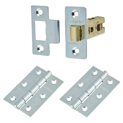 Touchpoint Latch Pack - 57mm Backset - 2 x Plain Steel Hinges - Bright Zinc Plated